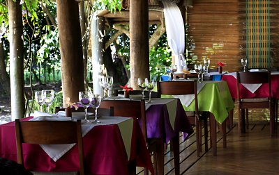 restaurant area with beautiful view to the pool area