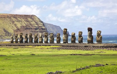 Ahu Tongariki, the largest ahu on Easter Island