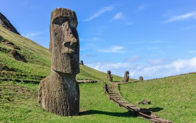 Moai statues in the Rano Raraku Volcano in Easter Island
