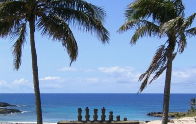 Rapa Nui Statues on the beach